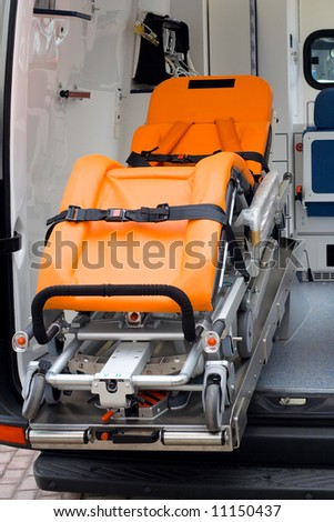 close-up wheel-litter in ambulance