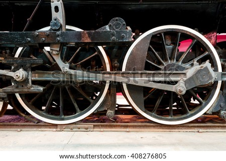 Close up wheels on stream powered locomotive. Southeastern Railway Museum - stock photo