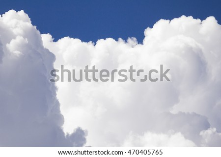 Close up White clouds in blue sky before rain