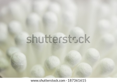 Close up white cotton buds