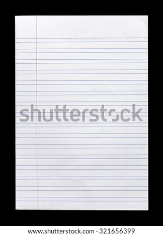 Close up white lined paper isolated on black background