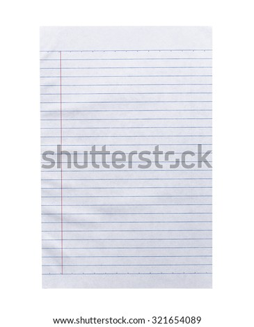 Close up white lined paper isolated on white background - stock photo