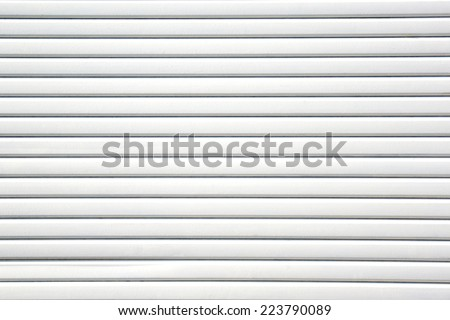Close up white metal sheet slide door texture background.
