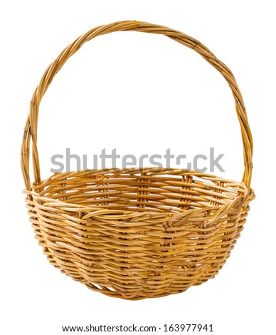Close up wicker basket isolated on white background
