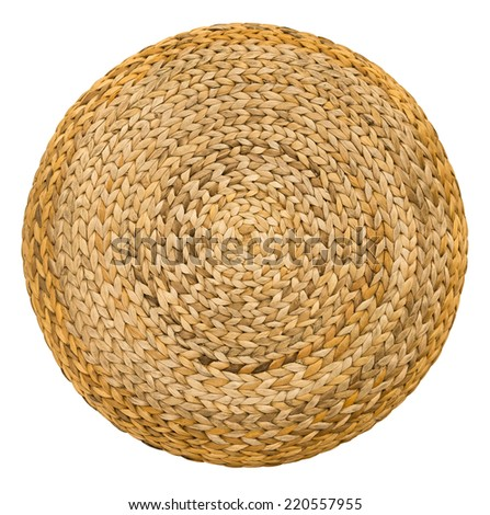 Close Up Wicker Handmade seat furniture surface top view texture Isolated on white background - stock photo