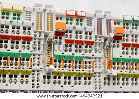 close wiring connectors terminal block industrial stock photo rh shutterstock com industrial electrical wiring diagram symbols industrial electrical wiring pdf