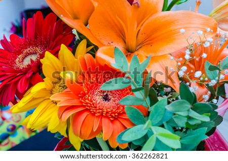 Close up with a colorful mix of spring flowers - stock photo