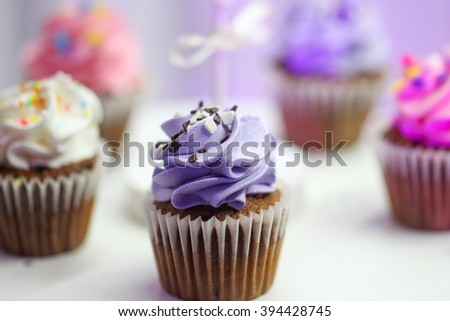 Close up with colourful different pastry with selective focus on - stock photo