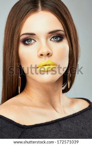 Close up woman face. Beauty model Sensual posing