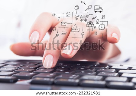 Close-up woman's hands using computer keyboard. Shopping online.
