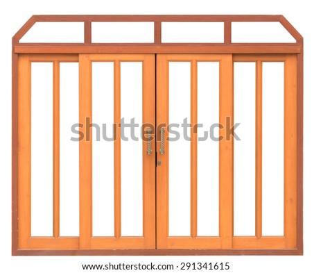 close up wood door isolated on white background - stock photo