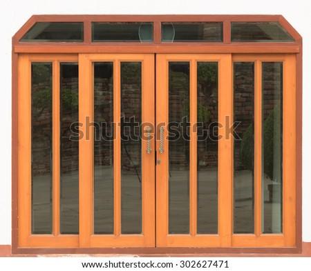close up wood door on white background - stock photo