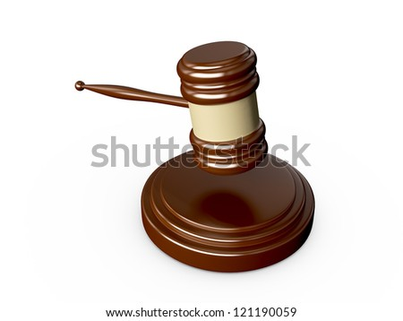 Close up wooden gavel in action, isolated on white background.