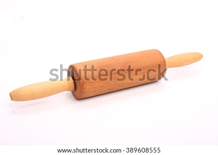 Close up wooden rolling pin isolated