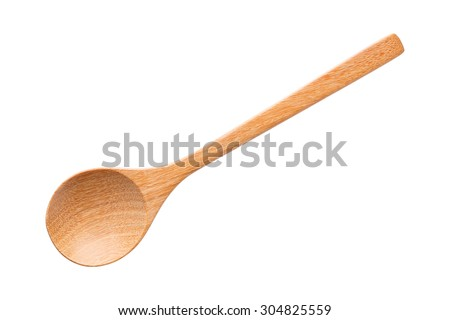 Close up wooden spoon isolated on white, with clipping path