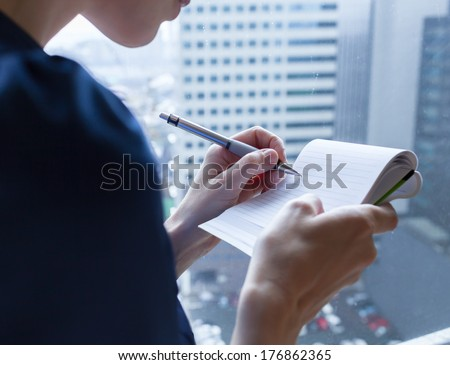 Close up working process at business meeting - stock photo