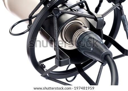 Close up XLR jack connect condenser microphone isolated on a white background - stock photo
