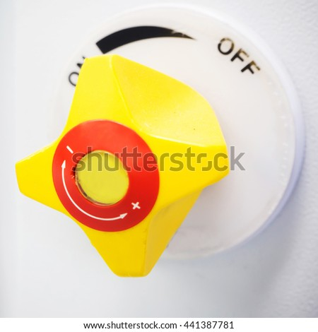 Close up yellow gas valve in laboratory - stock photo