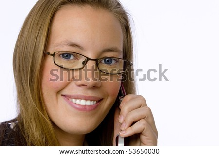 Close up young business woman talking on cell phone. - stock photo