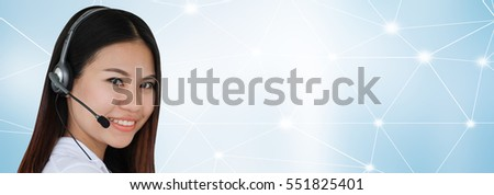 Close up young female call center smiling isolated on blur connectivity network background:happy asian girl helpdesk career with headset phone devices on connection lines:business technology concept.