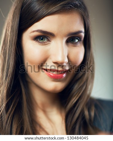 Close up young woman portrait. Female model. - stock photo