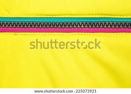 Close up zipper on a black background - stock photo