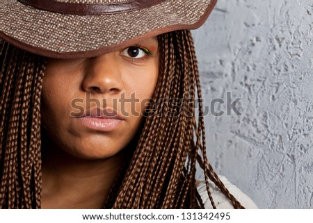 close-upportrait of a young black woman - stock photo