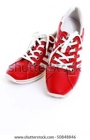 close-ups of casual red leather shoes