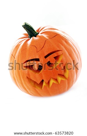 close-ups of funny Halloween pumpkin on white background - stock photo