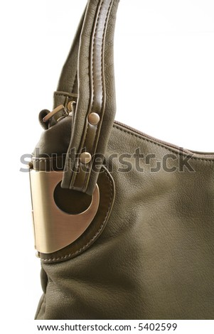close-ups of green handbag isolated on white