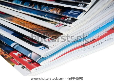 Close-ups of stack of colorful  publications - stock photo
