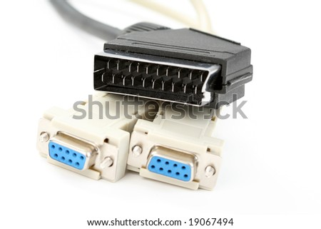 close-ups of tv and computer cable isolated on white