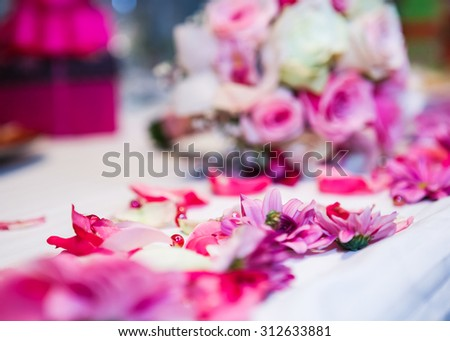 Close view at the floral wedding decorations - stock photo