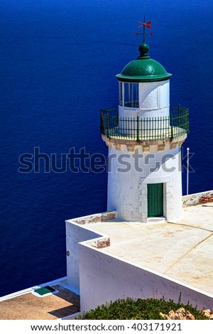Close view from the Lighthouse of Polyegos island, Cyclades, Greece