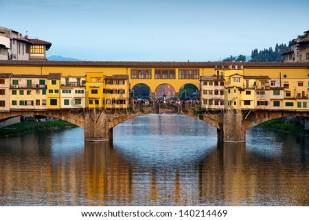 Close view in the evening of Ponte Vecchio in Florence - stock photo