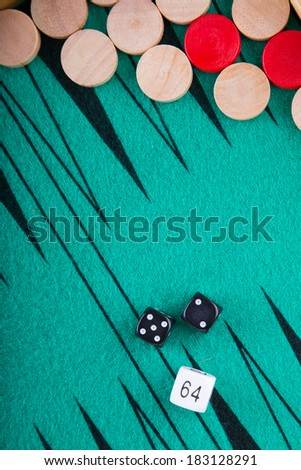 Close view of a backgammon game. - stock photo