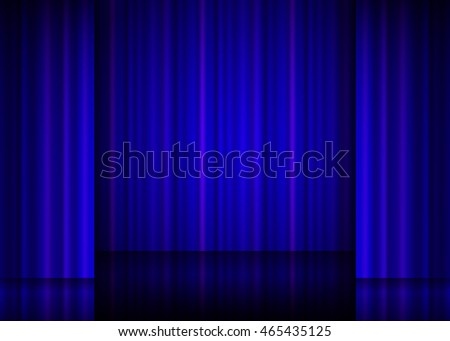 Close view of a blue curtain. illustration. Raster version.