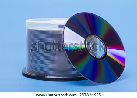 Close view of a bundle of virgin compact discs. - stock photo