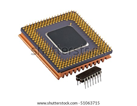 Close view of a computer cpu and old micro chip. Isolated on white.