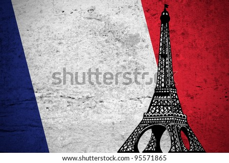 Close view of a grunge French flag illustration with the Eiffel Tower printed. - stock photo