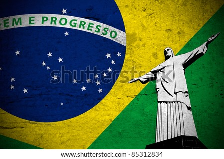 Close view of a grunge illustration of the brazilian flag with the Christ the Redeemer printed. - stock photo