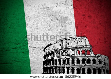 Close view of a illustration retro of Italy flag printed with a drawing of The Colosseum of Rome. - stock photo