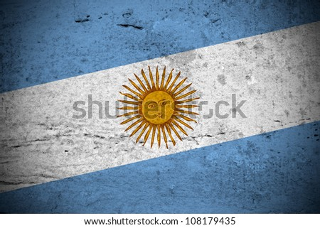 Close view of a vintage argentine flag illustration - stock photo