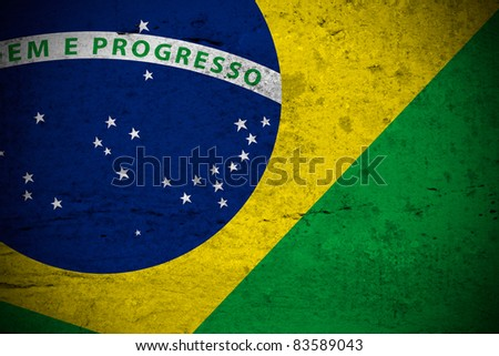 Close view of a vintage brazilian flag illustration - stock photo