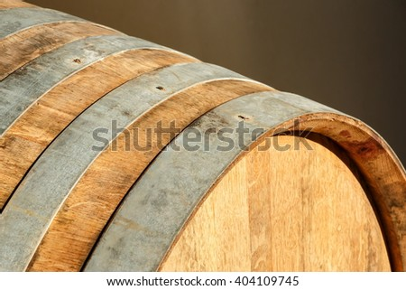 Close view of an oak barrel staves and rings - stock photo