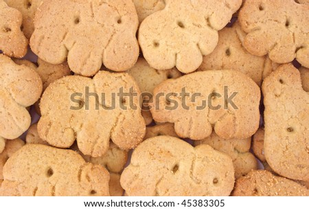 Close view of animal crackers - stock photo