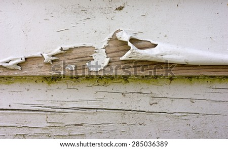 Close view of badly peeling paint on old clapboard siding. - stock photo