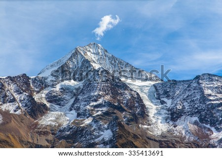 Close view of Bietschhorn in canton Wallis to the south of the Bernese Alps in Switzerland. its northeast and southern slopes are part of the Jungfrau-Aletsch Protected Area as UNESCO World Heritage.