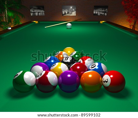 Close view of billiard table with balls in entertainment club