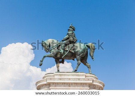 Close view of bronze equestrian sculpture of Victor Emmanuel in front of Altare della Patria, Rome, Italy - stock photo